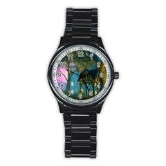 Background Forest Trees Nature Stainless Steel Round Watch