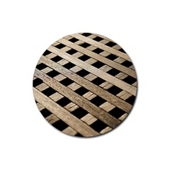 Texture Wood Flooring Brown Macro Rubber Coaster (round)  by Nexatart