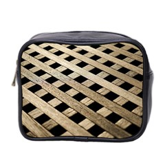 Texture Wood Flooring Brown Macro Mini Toiletries Bag 2 Side by Nexatart