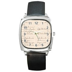 German French Lecture Writing Square Metal Watch by Nexatart