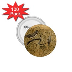 Birds Figure Old Brown 1 75  Buttons (100 Pack)