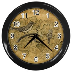 Birds Figure Old Brown Wall Clocks (black) by Nexatart