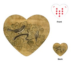 Birds Figure Old Brown Playing Cards (heart)  by Nexatart