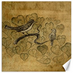Birds Figure Old Brown Canvas 12  X 12