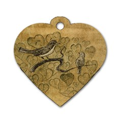 Birds Figure Old Brown Dog Tag Heart (two Sides)