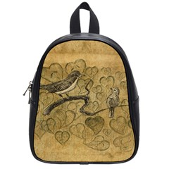 Birds Figure Old Brown School Bags (small)  by Nexatart