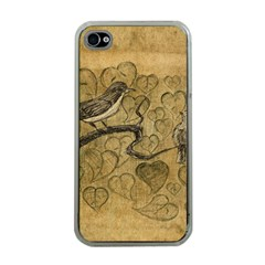 Birds Figure Old Brown Apple Iphone 4 Case (clear)