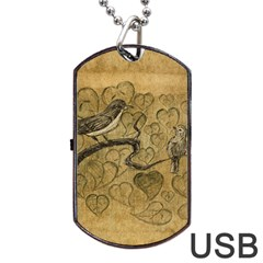 Birds Figure Old Brown Dog Tag Usb Flash (two Sides) by Nexatart