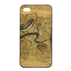 Birds Figure Old Brown Apple Iphone 4/4s Seamless Case (black) by Nexatart
