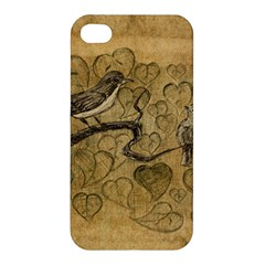 Birds Figure Old Brown Apple Iphone 4/4s Hardshell Case by Nexatart