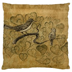 Birds Figure Old Brown Large Cushion Case (two Sides) by Nexatart