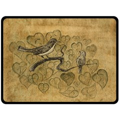Birds Figure Old Brown Double Sided Fleece Blanket (large)
