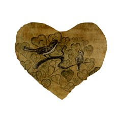 Birds Figure Old Brown Standard 16  Premium Flano Heart Shape Cushions by Nexatart