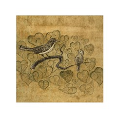 Birds Figure Old Brown Small Satin Scarf (square) by Nexatart