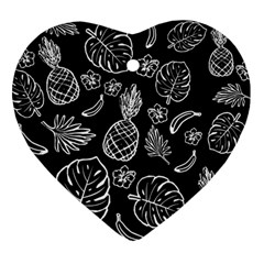 Tropical Pattern Heart Ornament (two Sides) by Valentinaart