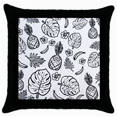 Tropical Pattern Throw Pillow Case (black) by Valentinaart