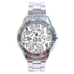 Tropical Pattern Stainless Steel Analogue Watch by Valentinaart