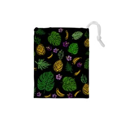 Tropical Pattern Drawstring Pouches (small)  by Valentinaart