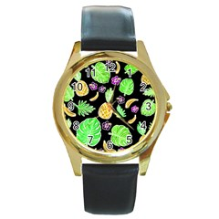 Tropical Pattern Round Gold Metal Watch by Valentinaart
