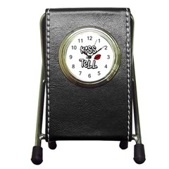 Kiss And Tell Pen Holder Desk Clocks by Valentinaart