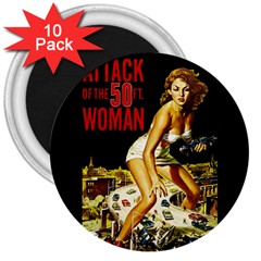 Attack Of The 50 Ft Woman 3  Magnets (10 Pack)  by Valentinaart