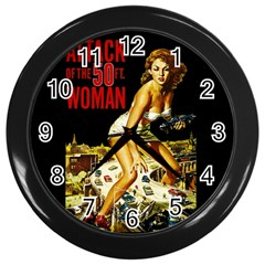 Attack Of The 50 Ft Woman Wall Clocks (black) by Valentinaart
