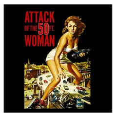 Attack Of The 50 Ft Woman Large Satin Scarf (square) by Valentinaart