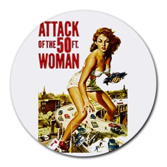 Attack Of The 50 Ft Woman Round Mousepads by Valentinaart