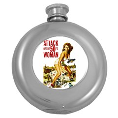 Attack Of The 50 Ft Woman Round Hip Flask (5 Oz) by Valentinaart