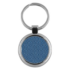 Hexagon1 Black Marble & Blue Colored Pencil (r) Key Chain (round) by trendistuff