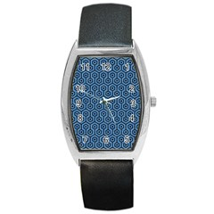 Hexagon1 Black Marble & Blue Colored Pencil (r) Barrel Style Metal Watch by trendistuff