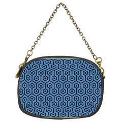 Hexagon1 Black Marble & Blue Colored Pencil (r) Chain Purse (two Sides)