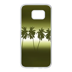 Tropical Sunset Samsung Galaxy S7 Edge White Seamless Case by Valentinaart