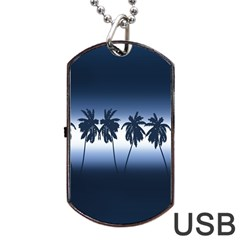 Tropical Sunset Dog Tag Usb Flash (one Side) by Valentinaart