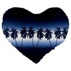 Tropical Sunset Large 19  Premium Flano Heart Shape Cushions
