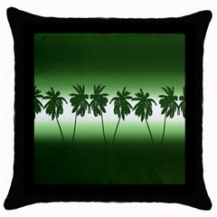 Tropical Sunset Throw Pillow Case (black) by Valentinaart