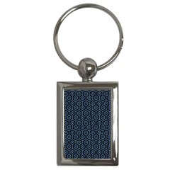 Hexagon1 Black Marble & Blue Colored Pencil Key Chain (rectangle) by trendistuff