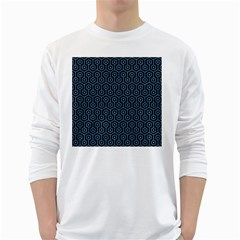 Hexagon1 Black Marble & Blue Colored Pencil Long Sleeve T Shirt by trendistuff