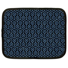 Hexagon1 Black Marble & Blue Colored Pencil Netbook Case (xl) by trendistuff