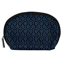 Hexagon1 Black Marble & Blue Colored Pencil Accessory Pouch (large) by trendistuff