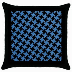 Houndstooth2 Black Marble & Blue Colored Pencil Throw Pillow Case (black) by trendistuff