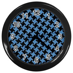 Houndstooth2 Black Marble & Blue Colored Pencil Wall Clock (black) by trendistuff