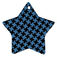 Houndstooth2 Black Marble & Blue Colored Pencil Star Ornament (two Sides) by trendistuff