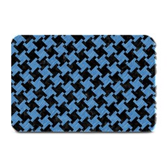 Houndstooth2 Black Marble & Blue Colored Pencil Plate Mat by trendistuff