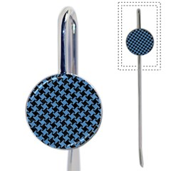 Houndstooth2 Black Marble & Blue Colored Pencil Book Mark by trendistuff