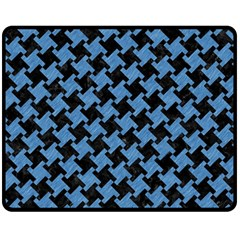 Houndstooth2 Black Marble & Blue Colored Pencil Fleece Blanket (medium) by trendistuff