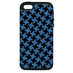 Houndstooth2 Black Marble & Blue Colored Pencil Apple Iphone 5 Hardshell Case (pc+silicone) by trendistuff