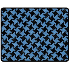 Houndstooth2 Black Marble & Blue Colored Pencil Double Sided Fleece Blanket (medium) by trendistuff
