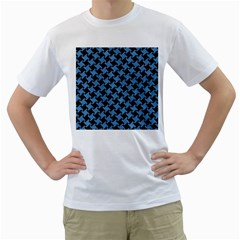Houndstooth2 Black Marble & Blue Colored Pencil Men s T Shirt (white)  by trendistuff