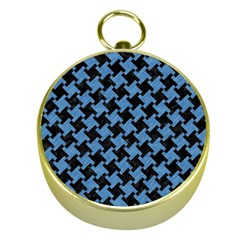 Houndstooth2 Black Marble & Blue Colored Pencil Gold Compass by trendistuff